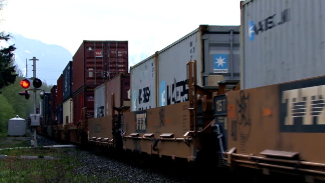 freight train rushing past in british columbia - fiume fraser video stock e b–roll
