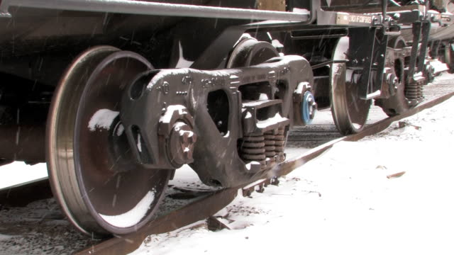 Freight train wheels in snow. video