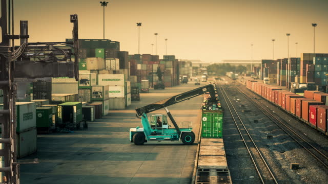 Freight train with cargo containers video