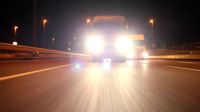 Freight Transportation at night ,Rear View video