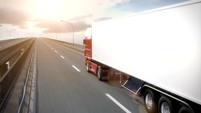 Freight Truck driving along bridge video