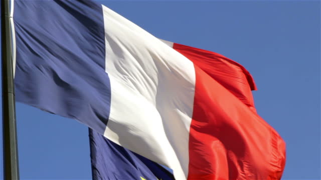 French and European Union flags video