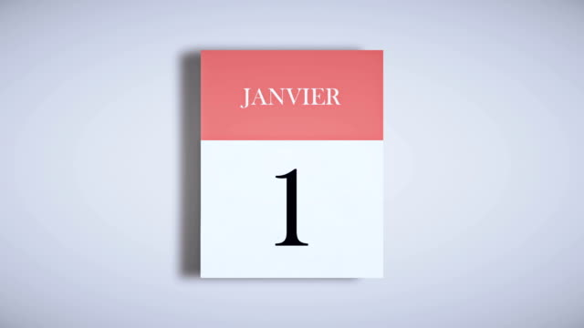 vídeos de stock e filmes b-roll de french annual calendar / fast page flipping animation - mês