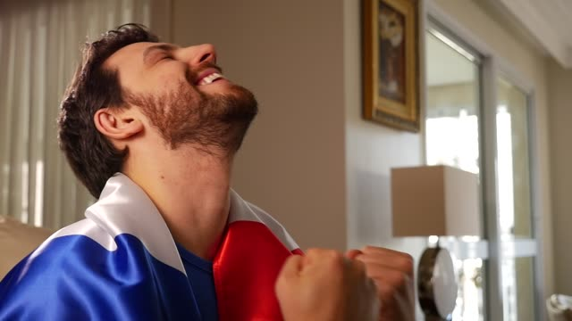 French Fan Celebrating with France Flag video
