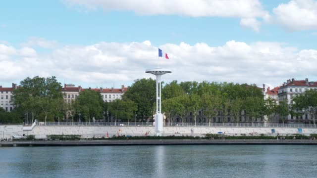 French flag at river Rhone