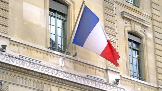 french flag in 4k slow motion 60fps - francja filmów i materiałów b-roll