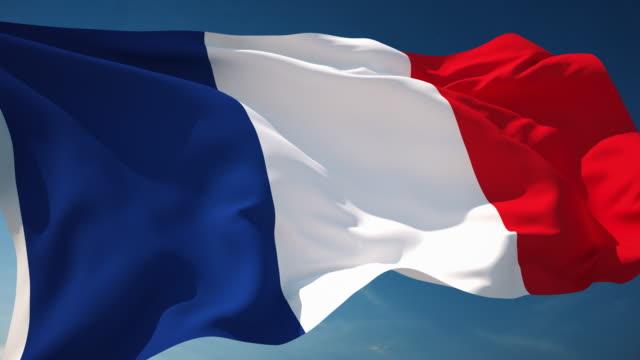 vídeos y material grabado en eventos de stock de 4 k bandera francesa-en bucle - francia