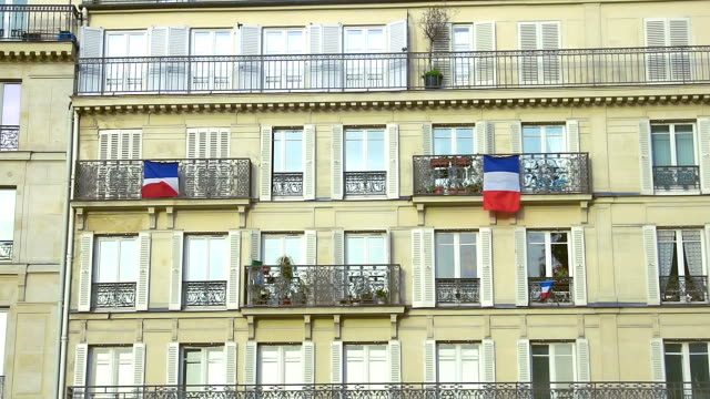 French flags hanging on balconies beautiful building, architecture, patriotism French flags hanging on balconies beautiful building, architecture, patriotism french architecture stock videos & royalty-free footage