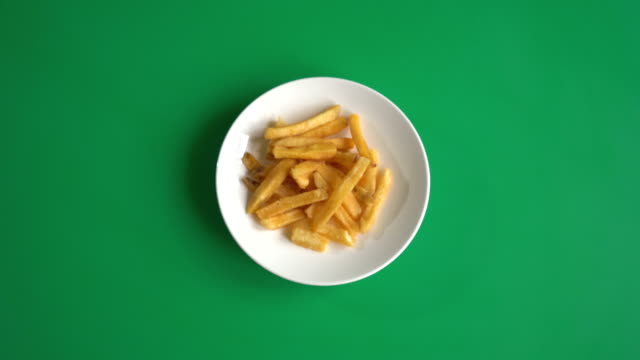 french fries on green screen