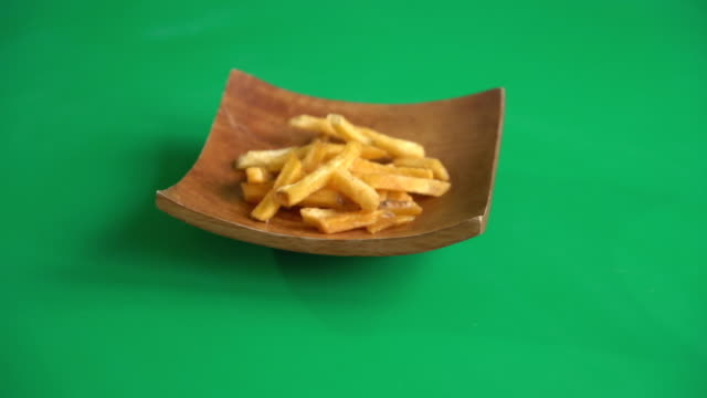 french fries on green screen video