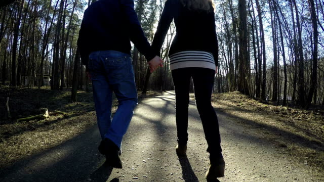 French pair couple walk in park holding hand in hand. French pair couple together walk in park holding hand in hand. Loving man and woman in beautiful spring nature evening. wide angle shot. short length stock videos & royalty-free footage