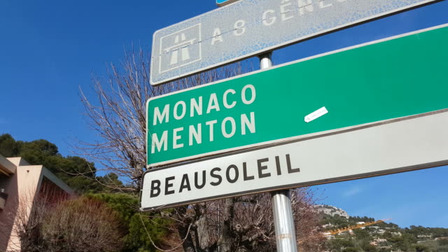 french road signs on the french riviera - road signs stock videos and b-roll footage