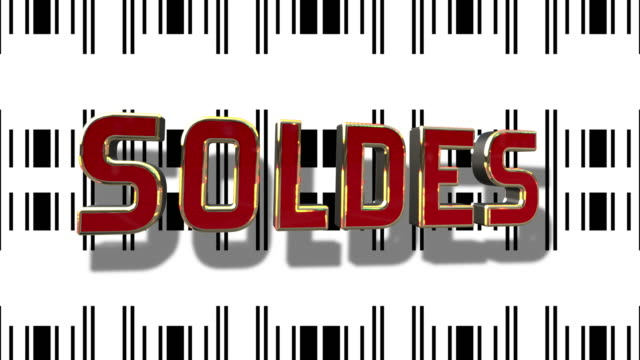 French Sale 3D Looping Animation With Barcode Abstract Line Background video
