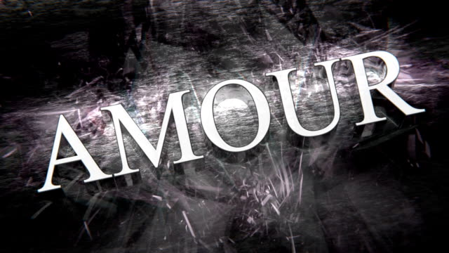 French word 'AMOUR' rotating - translation for 'LOVE', with caustic light effects, seamlessly loopable