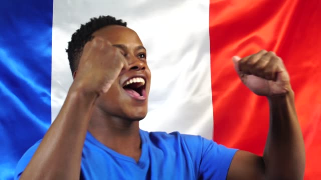 French Young Black Woman Celebrating with France Flag video