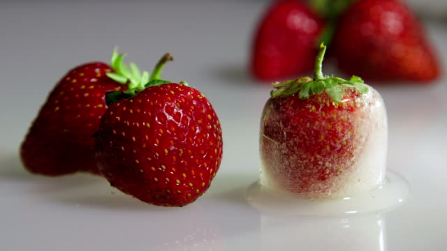 Fresh and frozen strawberry closeup time-lapse video