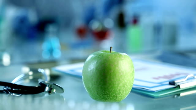 Fresh apple in lab video