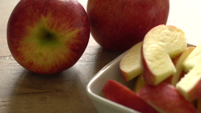 fresh apple sliced video