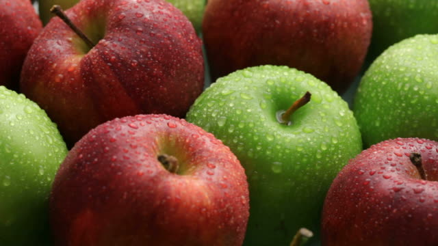 Fresh apples, fruit background video