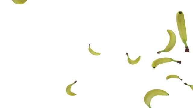 Bananes fraîches tombant sur fond blanc. Rendu 3d réaliste - Vidéo