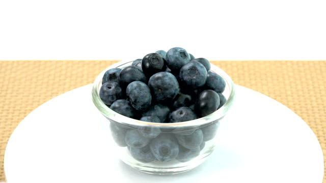Fresh Blueberries in rotating bowl, slow video