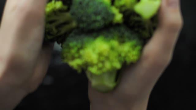 vídeos de stock e filmes b-roll de fresh broccoli splashing into the water slow motion - brócolo