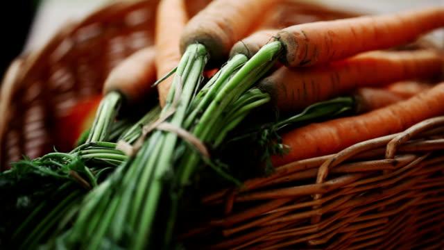 Fresh Carrots In A Wicker Basket Fresh Carrots In A Wicker Basket carrot stock videos & royalty-free footage