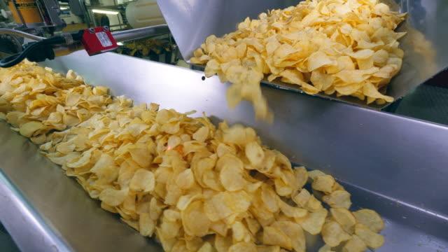 färska chips får transporteras av industrimaskin - livsmedelstillverkningsfabrik bildbanksvideor och videomaterial från bakom kulisserna