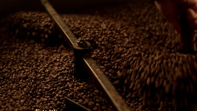 Fresh coffee beens mix in modern roaster video