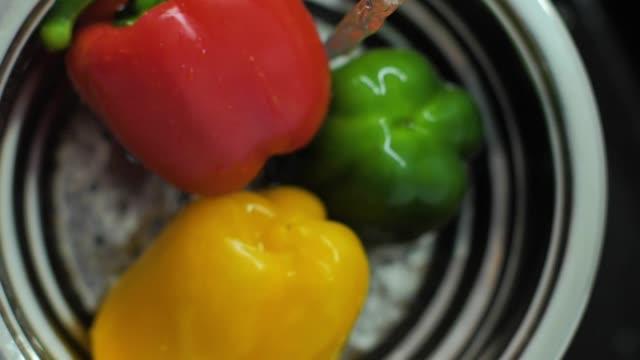Fresh colorful vegetables slow motion video - vídeo