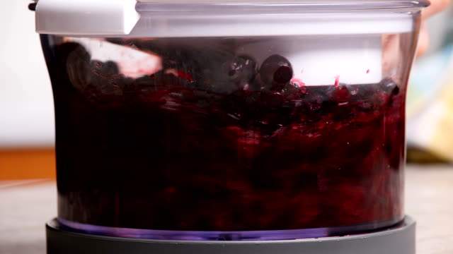 fresh currant in a blender, close-up video
