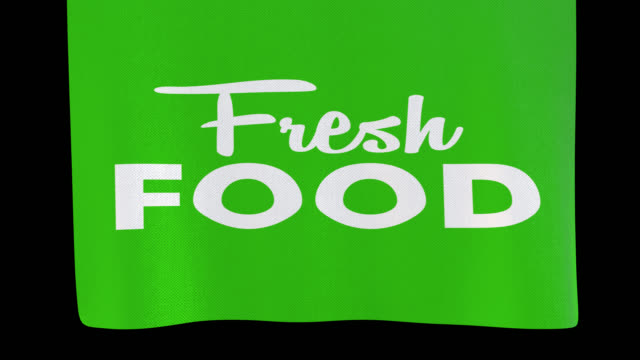 Fresh food unfolding cloth sign. Alpha channel will be included when downloading the 4K Apple ProRes 4444 file only