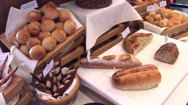 Fresh French bread and bun , Bangkok , Thailand video