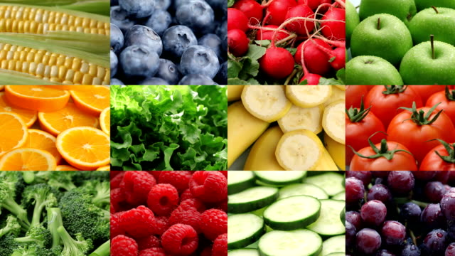 fresh fruits and vegetables, video montage - fruit stock videos and b-roll footage