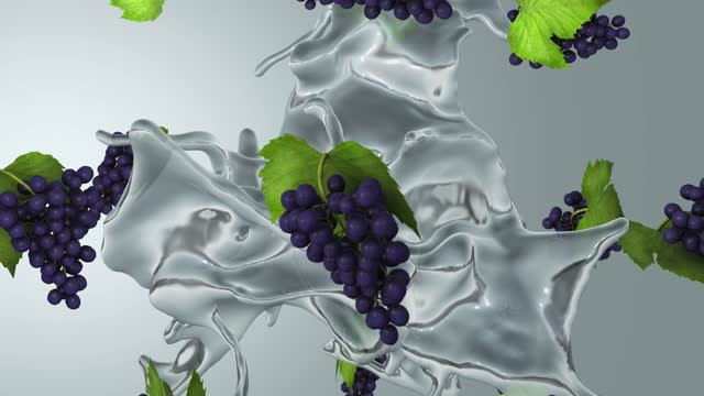 Fresh grapes and water spinning in the air. High quality 4K seamless loop able (with alpha)