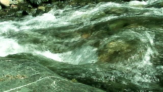 신선한 녹색 산과 강 - 클립 길이 스톡 비디오 및 b-롤 화면