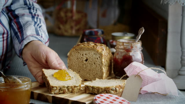 Fresh Homemade Brown Bread with Marmalade video