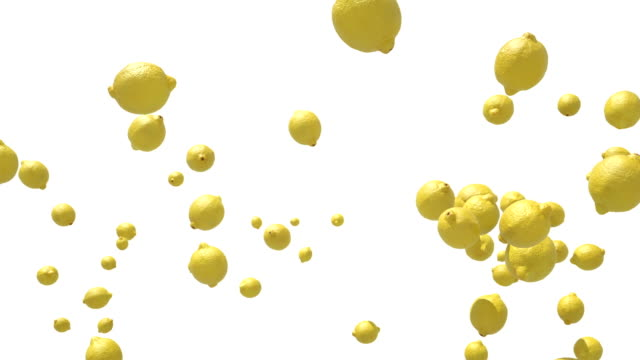 fresh lemon flying in slow motion against white - gusto aspro video stock e b–roll