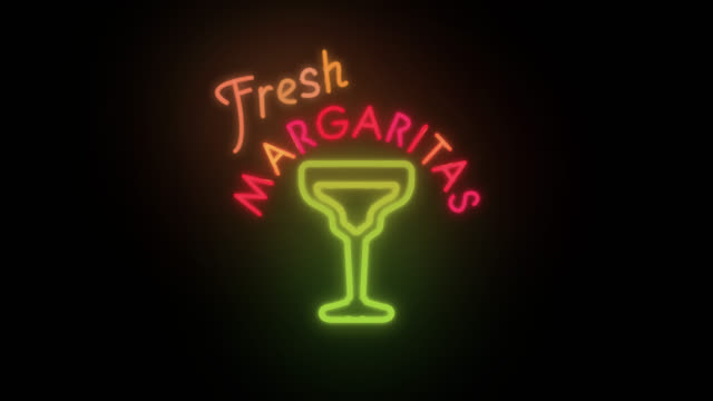vídeos y material grabado en eventos de stock de fresh margaritas old fashioned neon sign - margarita