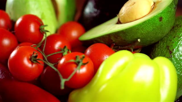 Fresh Organic Vegetables on Turntable video