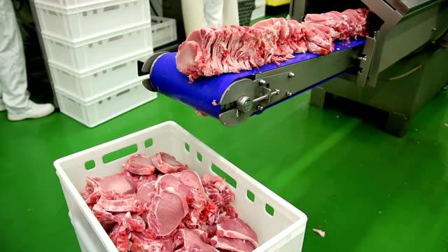 taze domuz eti et kesme makinesi - gıda ve i̇çecek sanayi stok videoları ve detay görüntü çekimi