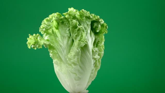 vídeos y material grabado en eventos de stock de lechuga verde cruda fresca girando sobre fondo verde - ingrediente