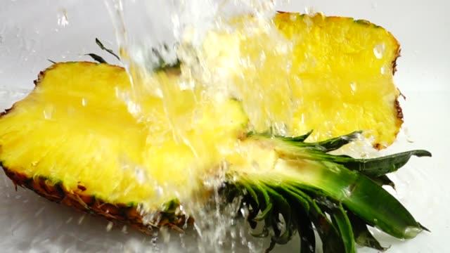 Fresh ripe pineapple. Slow motion. video