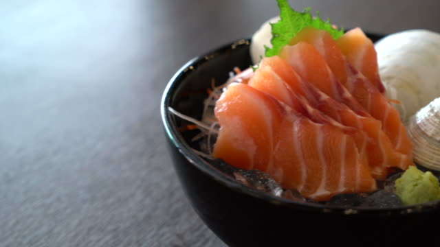 fresh salmon sashimi - japanese food style fresh salmon sashimi - japanese food style sashimi stock videos & royalty-free footage