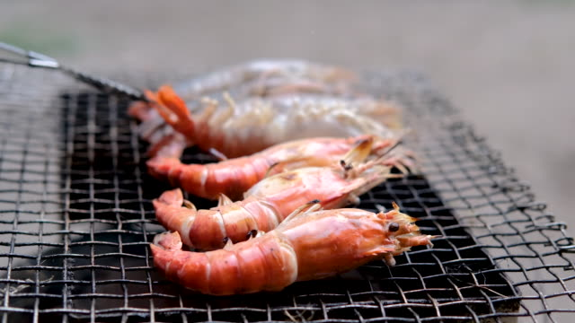 Fresh shrimp grilled on the fire oven