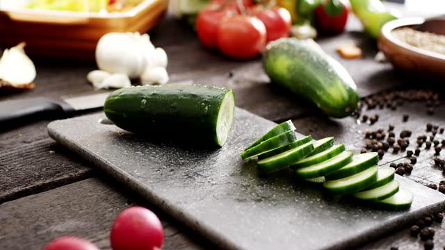 Fresh sliced cucumber video