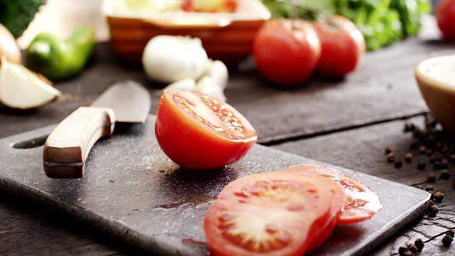 Fresh sliced tomato video