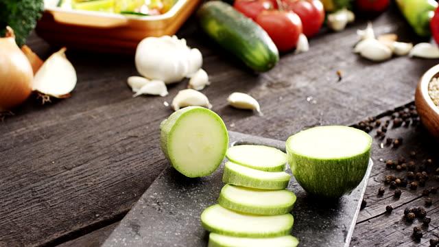 Fresh sliced zucchini video