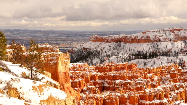 Fresh Snow Blankets Bryce Canyon Rock Formations Utah USA video