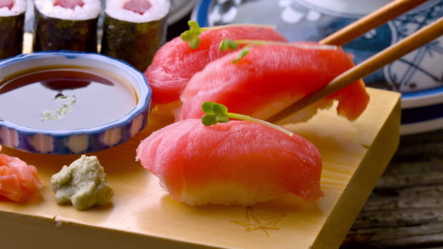 Fresh Sushi dolly shot video